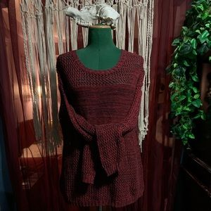 Amanda Green brick red knit sweater with sparkle